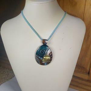 """Lia Sophia Abalone Shell art necklace 16""""-18"""""""